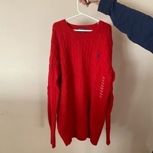 Polo Ralph Lauren Red Cable-Knit Sweater